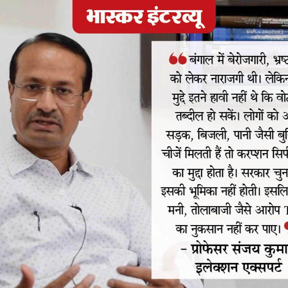 चुनाव विशेषज्ञ संजय कुमार से बातचीत:बंगाल में मुद्दा था तो बस ये कि 'दीदी' चाहिए या नहीं, 3M यानी मुस्लिम, महिला और ममता के चलते BJP पर भारी पड़ी TMC