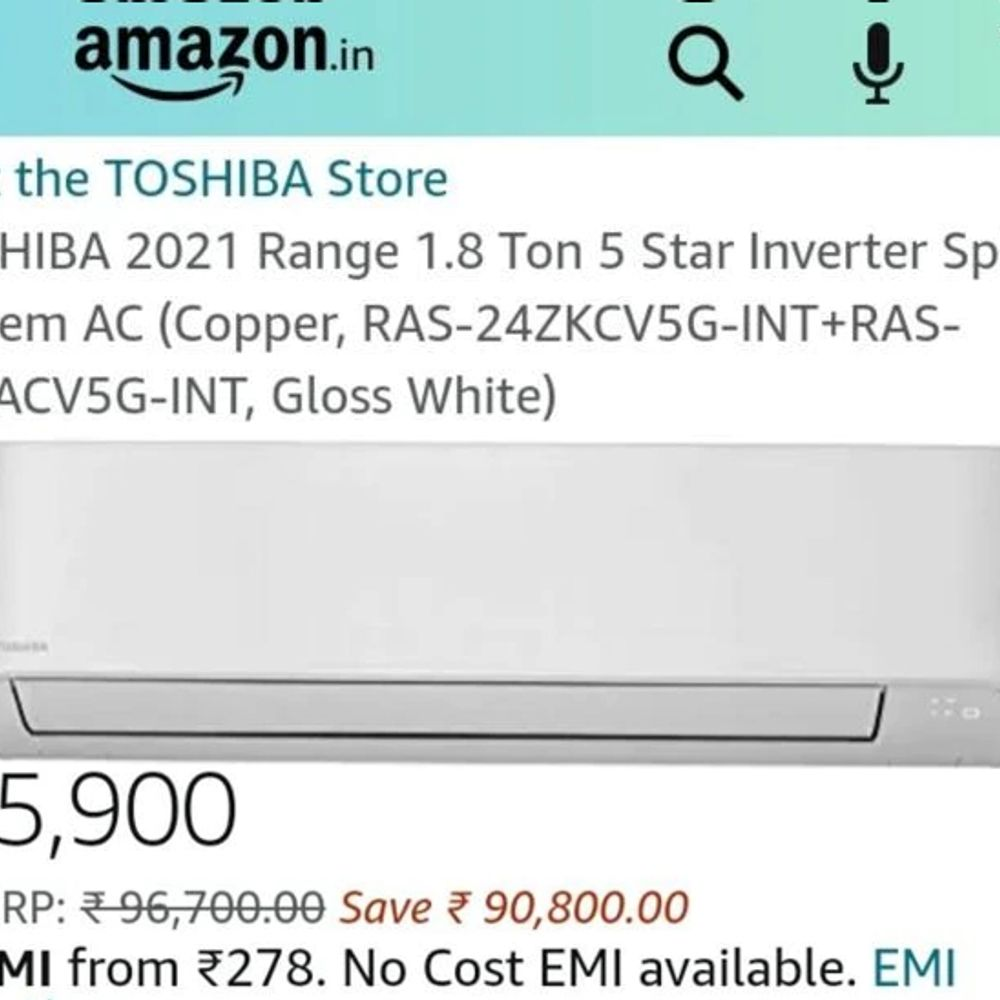 toshiba 18 ton inverter ac listed for rs 5900 on a 1625485142