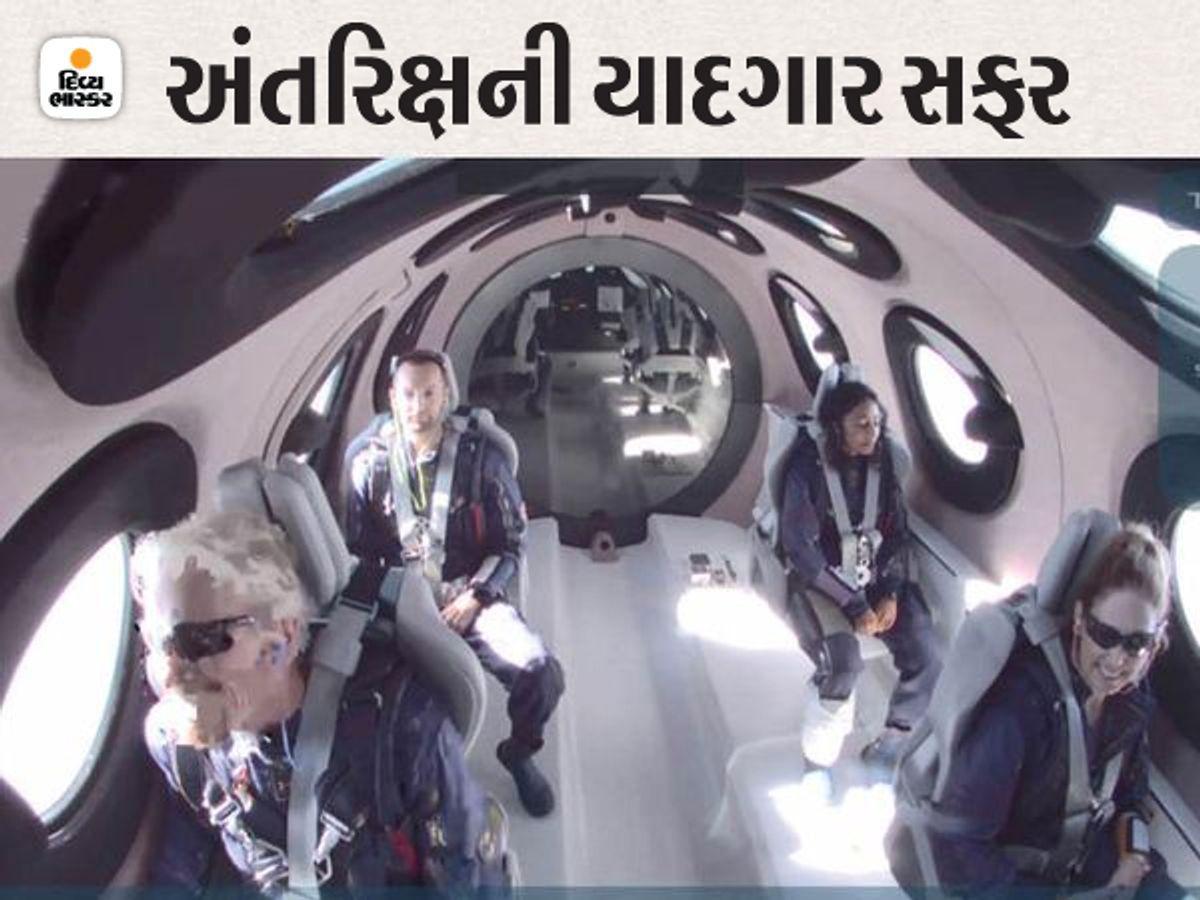 वर्जिन गेलेक्टिक का यात्री रॉकेट विमान वीएसएस इकाई में सवार हुआ, ब्रैनसन अंतरिक्ष के तट पर गया और गुरुत्वाकर्षण के बिना एक राज्य का अनुभव किया।