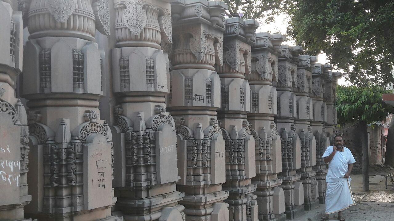 अयोध्या के रामघाट कार्यशाला में राममंदिर के लिए तराशे गए पत्थर (फाईल फोटो )