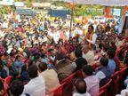 सरकार के खिलाफ प्रदर्शन और कलेक्टरेट घेरने पर पुलिस ने सुमित्रा महाजन, राकेश सिंह समेत 353 भाजपाइयों को हिरासत में लिया|इंदौर,Indore - Dainik Bhaskar