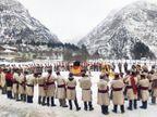 किन्नाैर के ठंगी में माघ मेला शुरू, देवता की उपस्थिति में नाटी डाली, सुख-समृद्धि की कामना की|शिमला,Shimla - Dainik Bhaskar
