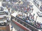 प्रवासी मजदूर जान जोखिम में डालकर यूपी-बिहार के लिए निकले, सैकड़ों ने बसों की छतों पर बैठकर सफर किया|देश,National - Dainik Bhaskar