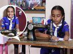 एक हाथ की मदद से जरूरतमंदों के लिए मास्क सिल रही 10 साल की सिंधूरी, दसवीं की परीक्षा दे रहे स्टूडेंट्स को बांटे मास्क|वीमेन,Women - Dainik Bhaskar