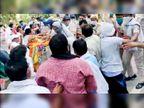आत्मदाह की कोशिश, पुलिस ने रोका तो हुई हाथापाई, आखिर में लाठीचार्ज, पुलिस ने दौड़ा-दौड़ाकर पीटा हरियाणा,Haryana - Dainik Bhaskar