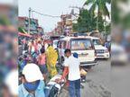 ओवरटेक के चक्कर में पलटा ट्रक, अकबरनगर में 4 घंटे जाम