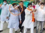 पिछले चुनाव में प्रतिद्वंदी रहे सोनकर पूरे समय साथ चले, मंच पर सिलावट लड़खड़ाए तो सहारा भी दिया; कार्यकर्ता मंत्रीजी को लड्डू से तौलते रहे|इंदौर,Indore - Dainik Bhaskar