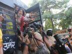 बाराबंकी में दलित लड़की से गैंगरेप और हत्या के विरोध में आप कार्यकर्ताओं ने प्रदर्शन किया, झड़प के बाद पुलिस ने लाठीचार्ज किया|उत्तरप्रदेश,Uttar Pradesh - Dainik Bhaskar