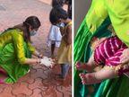 महाअष्टमी पर शिल्पा शेट्टी ने 9 कन्याओं के पैर धोए और उन्हें भोजन कराया, आरती उतारकर उनका आशीर्वाद भी लिया|बॉलीवुड,Bollywood - Dainik Bhaskar