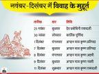 नवंबर में 2 और दिसंबर में सिर्फ 5 दिन शादियों के मुहूर्त, 11 दिसंबर के बाद अप्रैल में आएंगे शुभ मुहूर्त|धर्म,Dharm - Dainik Bhaskar