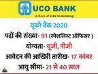 यूको बैंक ने स्पेशलिस्ट ऑफिसर के 91 पदों के लिए मांगे आवेदन, 17 नवंबर तक अप्लाय कर सकते हैं कैंडिडेट्स|करिअर,Career - Dainik Bhaskar