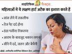 हार्ट अटैक के वो लक्षण जो सिर्फ महिलाओं में दिखते हैं, पेट दर्द और सांस लेने में तकलीफ हो तो नजरअंदाज न करें|लाइफ & साइंस,Happy Life - Dainik Bhaskar