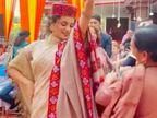 भाई के रिसेप्शन में हिमाचली लोकगीत पर नाचीं कंगना रनोट, भाईयों के साथ फोटो शेयर कर दी भाई दूज की बधाई|बॉलीवुड,Bollywood - Dainik Bhaskar
