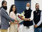 रक्षा मंत्री राजनाथ सिंह से मिलीं कंगना रनोट, अगली फिल्म 'तेजस' के लिए लिया आशीर्वाद|बॉलीवुड,Bollywood - Dainik Bhaskar