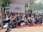 किसान आंदोलन को वकीलों ने दिया समर्थन, राष्ट्रपिता की प्रतिमा के सामने दिया धरना|जींद,Jind - Dainik Bhaskar