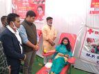 भोपाल में बीजेपी के राज्यसभा सांसद ज्योतिरादित्य सिंधिया 50वें जन्मदिन पर हुआ रक्तदान भोपाल,Bhopal - Dainik Bhaskar