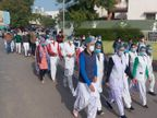 सेवा समाप्ति के आदेश को लेकर विरोध, नर्सेज ने निकाली रैली|अजमेर,Ajmer - Dainik Bhaskar