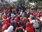 बड़ी संख्या में महिलाओं ने थाने का घेरा, मौके पर ही प्रदर्शन जारी|जयपुर,Jaipur - Dainik Bhaskar