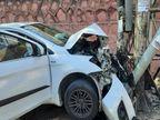 जयपुर में तेज रफ्तार बेकाबू कार बिजली पोल से टकराई, अगला हिस्सा बुरी तरह क्षतिग्रस्त; एयरबैग खुलने से बची चालक की जान|जयपुर,Jaipur - Dainik Bhaskar