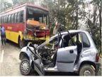 होशियारपुर में बस और कार की टक्कर में बच्चे सहित 4 लोगों की मौत, गाड़ी काटकर निकालने पड़े शव|पंजाब,Punjab - Dainik Bhaskar