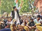 वीसी की कार के आगे लेटे छात्र; पुलिस ने चार बार लाठियां चलाईं, कई चोटिल|जोधपुर,Jodhpur - Dainik Bhaskar