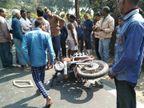 बुलेट से पति-बच्चे के साथ जा रही महिला को बस ने कुचला; फंसा रहा शव इसलिए भाग नहीं सकी बस, पति PMCH रेफर छपरा,Chhapra - Dainik Bhaskar