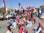 उदयपुर में किसानों के समर्थन में चक्काजाम, ढोल नगाड़े बजाकर बलीचा हाईवे पर बैठे किसान|उदयपुर,Udaipur - Dainik Bhaskar
