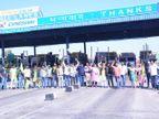 जयपुर में नेशनल हाइवे-8 पर रोके वाहन, आधे घंटे बंद रहा बगरू टोल प्लाजा|जयपुर,Jaipur - Dainik Bhaskar