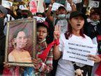म्यांमार के राजनीतिक दलों ने फौजी सरकार में शामिल होने का प्रस्ताव ठुकराया; पूरे देश में हो रहे प्रदर्शन विदेश,International - Dainik Bhaskar