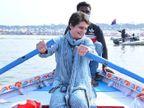 संगम में अपने हाथ संभाली पतवार लगाई नाव मझधार पार, पुरखों को किया याद तो अनाथ बच्चों संग बिताया पल इलाहाबाद,Allahabad - Dainik Bhaskar
