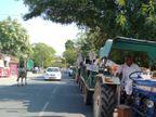 शाहजहांपुर-हरियाणा बॉर्डर पर जा रहा राशन, अलवर में 12 फरवरी को राकेश टिकैत ने कहा था- अनाज को तिजोरी में बंद नहीं होने देंगे|अलवर,Alwar - Dainik Bhaskar