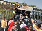 बस-ट्रक भिड़ंत में 24 से अधिक लोग घायल, क्षमता से अधिक सवारियां सवार थीं|उज्जैन,Ujjain - Dainik Bhaskar