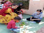 छोटे बच्चों की छुट्टी, इसलिए स्कूल उनकी मम्मियों को दे रहें ट्रेनिंग, आलू-प्याज से घर में कैसे पढ़ाएं छत्तीसगढ़,Chhattisgarh - Dainik Bhaskar