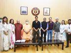 अयोध्या में फिल्म के मुहूर्त पूजा के बाद अक्षय कुमार ने CM योगी से की मुलाकात; मंदिर दर्शन और रामायण के पात्रों पर हुई चर्चा|लखनऊ,Lucknow - Dainik Bhaskar