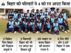 BCCI के टूर्नामेंट में मिजोरम को शानदार फील्डिंग की बदौलत 6 विकेट से हराया बिहार,Bihar - Dainik Bhaskar