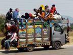 माल वाहक वाहन में भरी जा रही सवारियां, ओवर लोडिंग की अनदेखी|सतना,Satna - Dainik Bhaskar
