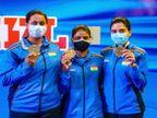 ISSF वीमेंस ट्रैप इवेंट में राजेश्वरी-मनीषा के साथ श्रेयसी सिंह को स्वर्णिम सफलता|पटना,Patna - Dainik Bhaskar