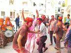 कोरोना के बीच होली, सड़कों, घरों और अपार्टमेंट में ढोल-नगाड़े संग उड़ता गुलाल, बीकानेर में ढफ-चंग, अजमेर में कपड़ा फाड़ मस्ती|जयपुर,Jaipur - Dainik Bhaskar