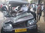 विकट मोड़ पर बोलेरो पर पलटा कंटेनर से लदा ट्रेलर; एक महिला की मौत, दो घायल|जोधपुर,Jodhpur - Dainik Bhaskar