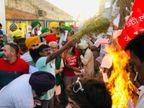 कृषि कानूनों के खिलाफ प्रदर्शन कर रहे किसानों ने बॉर्डर पर ही मनाई होली; लोकनृत्य और गाने-बजाने के साथ रंग खेला|देश,National - Dainik Bhaskar