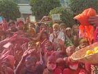 प्रियाकान्तजू संग होरी खेलें रसभरी, फूलों संग ठाकुरजी खेले होली; भक्तों ने लूटे लड्डू-जलेबी|भरतपुर,Bharatpur - Dainik Bhaskar