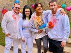 प्रियंका ने पति, सास-ससुर के साथ लंदन में खेला रंग, अमिताभ को याद आई गुजरे जमाने की होली, कंगना ने जैसलमेर से भेजीं शुभकामनाएं|बॉलीवुड,Bollywood - Dainik Bhaskar
