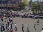 बार एसोसिएशन औरकरणी सेना ने किया प्रदर्शन, पुलिस के विरोध में लगाए नारे|उज्जैन,Ujjain - Dainik Bhaskar