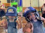 बेटी समायरा ने रोहित शर्मा का क्रिकेट हेलमेट पहनकर बताया कि पापा कैसे लगाते हैं सिक्स, चौके के बाद अंपायर किस तरह करते हैं इशारा क्रिकेट,Cricket - Dainik Bhaskar