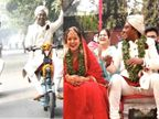 चेन्नई में संपन्न माधुरी और आदित्य के विवाह में इलेक्ट्रिक साइकिल से पहुंची बारात, पहनाई गई तुलसी की वरमालाएं और मेहमानों को तोहफे में दिए पौधे|लाइफस्टाइल,Lifestyle - Dainik Bhaskar