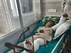 थाने के बाहर खड़े पुलिसकर्मियों को कार ने टक्कर मारी, एक एसआई समेत 2 लोग घायल|पलवल,Palwal - Dainik Bhaskar