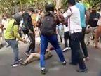 पहले सिविल डिफेंस वाले ने कार चालक को पीटा, फिर भीड़ ने उन्हें भागने को मजबूर किया|दिल्ली + एनसीआर,Delhi + NCR - Dainik Bhaskar