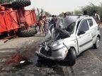 टक्कर इतनी जोरदार थी कि थ्रेसर मशीन पलट गई, 3 जख्मी, हनुमानगढ़-किशनगढ़ मेगा हाइवे पर जाम|नागौर,Nagaur - Dainik Bhaskar