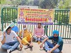निगम के गेट पर तालाबंदी कर धरने पर बैठे बाबा रामकेवल, कमिश्नर के आश्वासन के बाद उठे|फरीदाबाद,Faridabad - Dainik Bhaskar