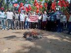 कर्मचारियों ने फूंका पुतला, कहा- मजबूरी ले आई सड़कों तक, जब तक सुनवाई नहीं होगी अब यहीं रहेंगे|चंडीगढ़,Chandigarh - Dainik Bhaskar